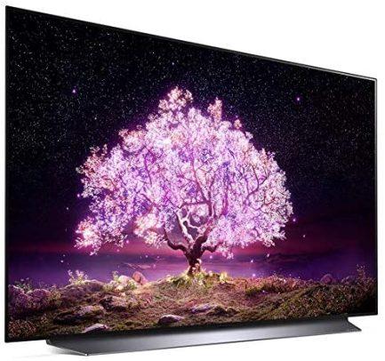 LG OLED48C1PUB 48 Inch 4K Smart OLED TV (2021 Model) Bundle with Deco Home 60W 2.0 Channel Soundbar, 37-70 inch TV Wall Mount Bracket Bundle and 6-Outlet Surge Adapter 3