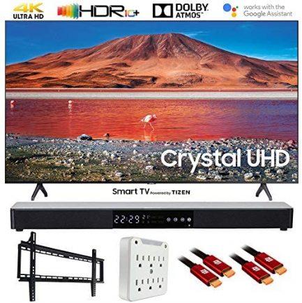 """SAMSUNG UN65TU7000 65"""" 4K Ultra HD Smart LED TV (2020) with Deco Gear Soundbar Bundle 1"""
