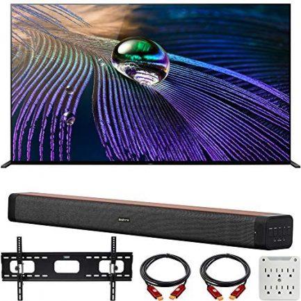 "Sony XR65A90J 65-inch OLED 4K HDR Ultra Smart TV (2021 Model) Bundle with Deco Home 60W 2.0 Channel Soundbar, 37""-100"" TV Wall Mount Bracket Bundle and 6-Outlet Surge Adapter 1"