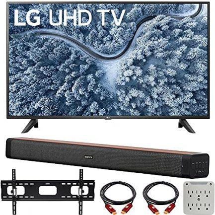 LG 55 Inch UP7000 Series 4K LED UHD Smart webOS TV (2021 Model) Bundle with Deco Home 60W 2.0 Channel Soundbar, 37-70 inch TV Wall Mount Bracket Bundle and 6-Outlet Surge Adapter 1