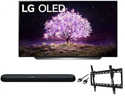 LG OLED65C1PUB C1 65 inch OLED 4K Smart OLED TV w/AI ThinQ Bundle with Yamaha YAS109 Soundbar, Universal Wall Mount, HDMI Cable - LG Authorized Dealer 1