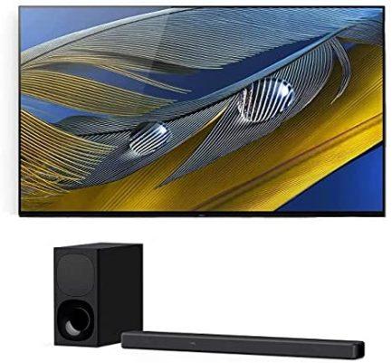 "Sony XR-77A80J 77"" OLED BRAVIA XR 4K Ultra HD Smart TV with a Sony HT-G700 3.1 Channel Bluetooth Soundbar and Wireless Subwoofer (2021) 1"