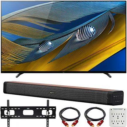 "Sony XR55A80J 55-inch A80J 4K OLED Smart TV (2021 Model) Bundle with Deco Home 60W 2.0 Channel Soundbar, 37""-100"" TV Wall Mount Bracket Bundle and 6-Outlet Surge Adapter 1"